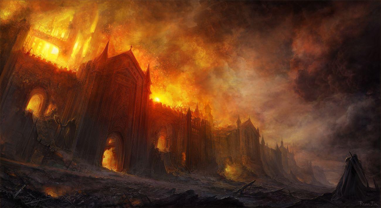 Un paysage de feu et de cendres